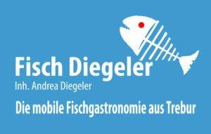 Logo Fisch auf blauen Grund